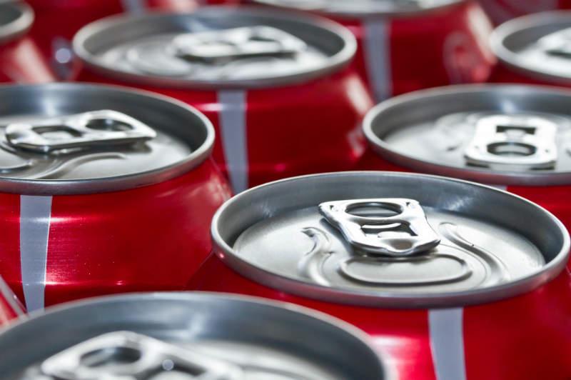 coca-cola cans close up coke