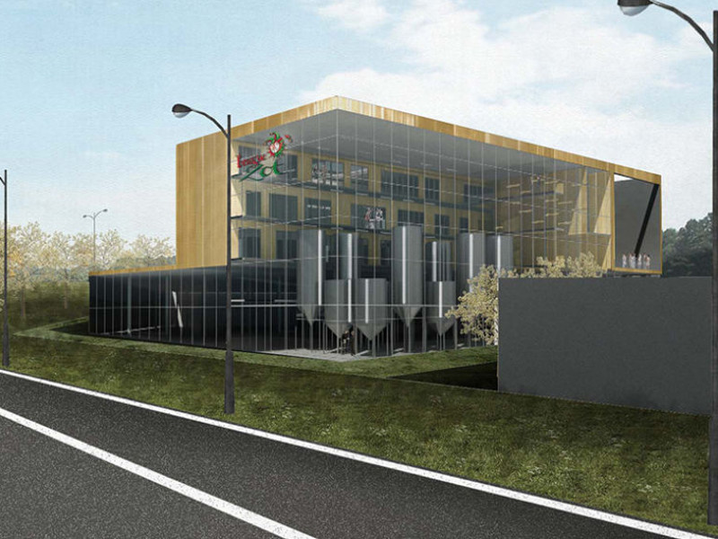 The new De Halve Maan bottling plant is being developed in Waggelwater industry zone in Belgium. Image courtesy of Groep III Architects.