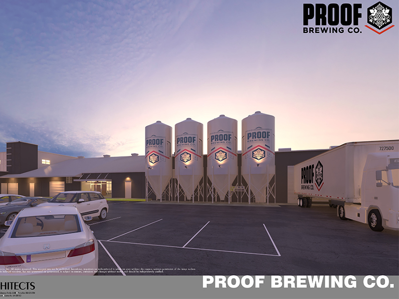 The new facility will feature a bigger tasting room. Image courtesy of Proof Brewing/Conn Architects.