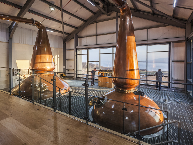 The distillery consists of two copper stills in the still room. Image courtesy of Ardnahoe Distillery.