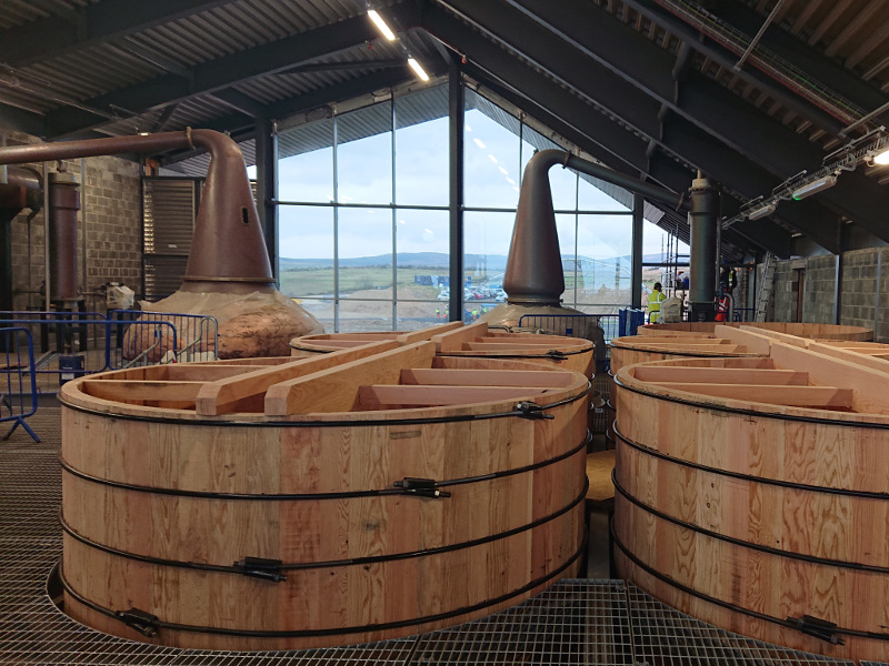 The distillery's copper pot will produce spirit with phenolic content of 50 parts per million. Image courtesy of Isle of Arran Distillery.