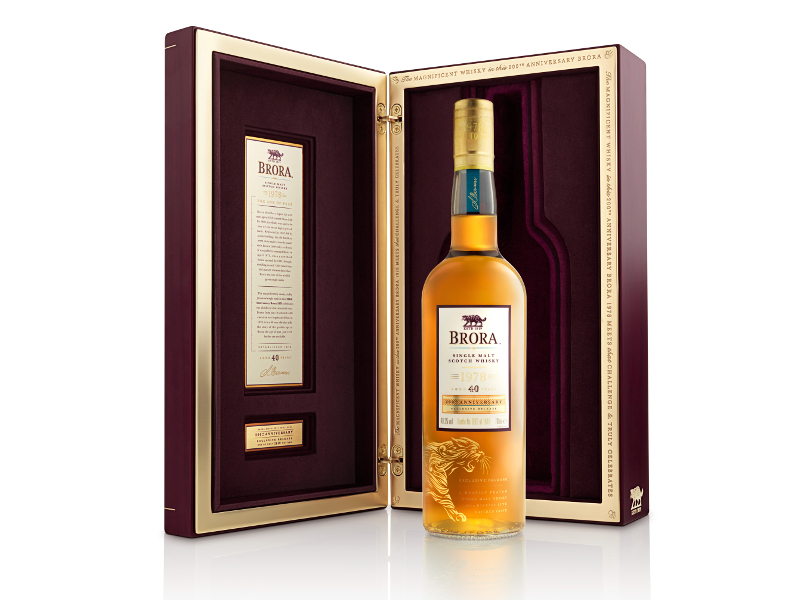 The oldest official bottle of Brora whisky was auctioned for £14,500 ($16,144). Image courtesy of Diageo.