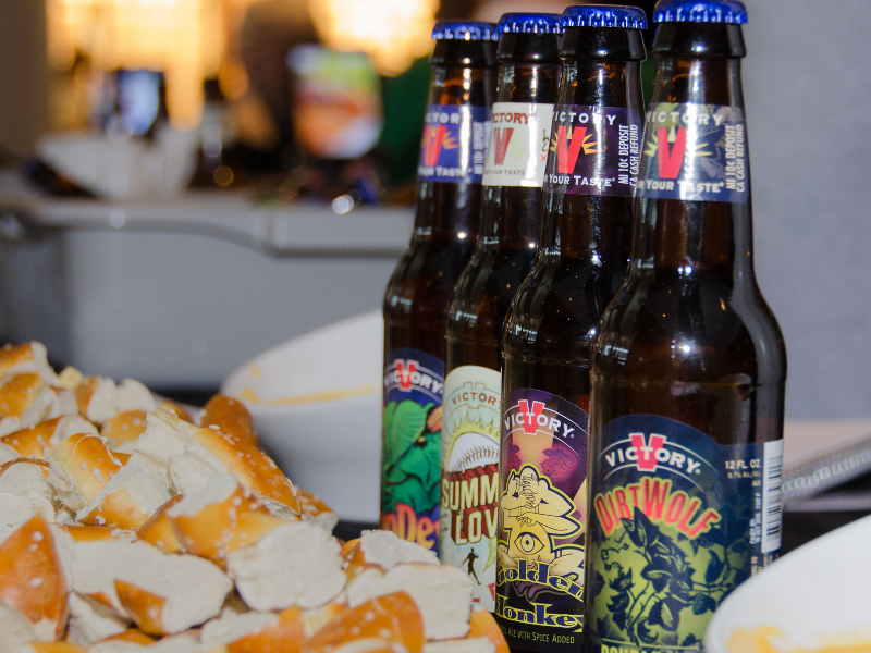 Some of Victoria Brewing's popular beers include Golden Monkey, Sour Monkey, Twisted Monkey, Helles Lager, and Hopdevil. Image courtesy of Philadelphia International Airport.