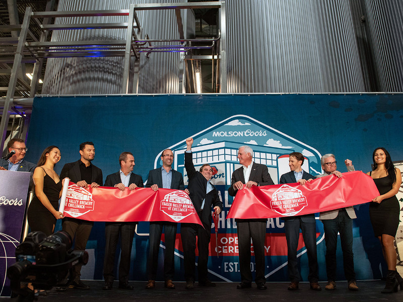 The ribbon-cutting ceremony of the Molson Coors Fraser Valley brewery was held on 17 September 2019. Credit: CNW Group / Molson Coors Canada.