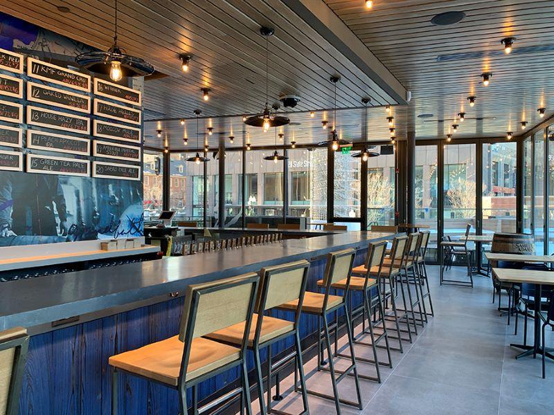The taproom has three bar levels. Credit: Samuel Adams.