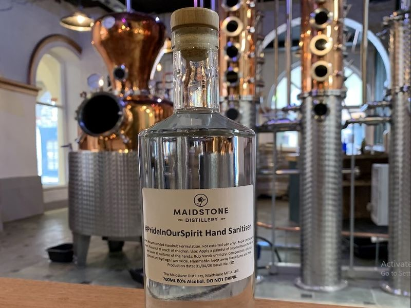Maidstone Distillery supported Covid-19 operations by manufacturing hand sanitisers. Credit: Maidstone Distillery.